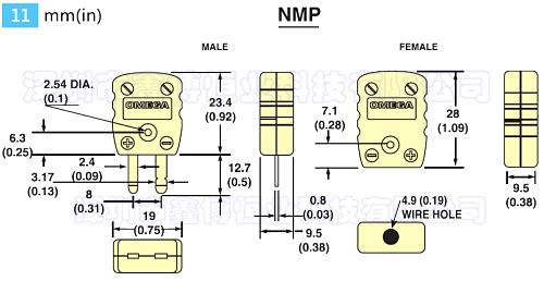 NMP-D-M插头 美国omega热电偶插头