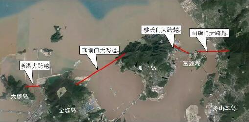 舟山500千伏联网输变电工程第二联网通道部分俯瞰图