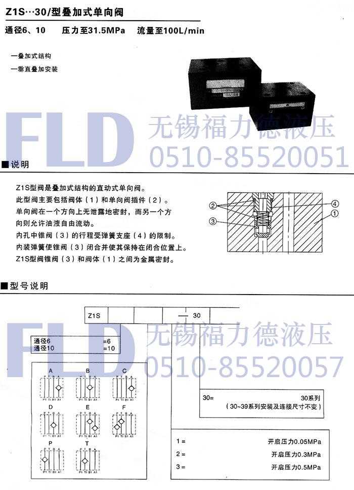 z1s6e1-30,z1s6f1-30,叠加式单向阀dvp10-1-10单向节流截止阀dvp12-1