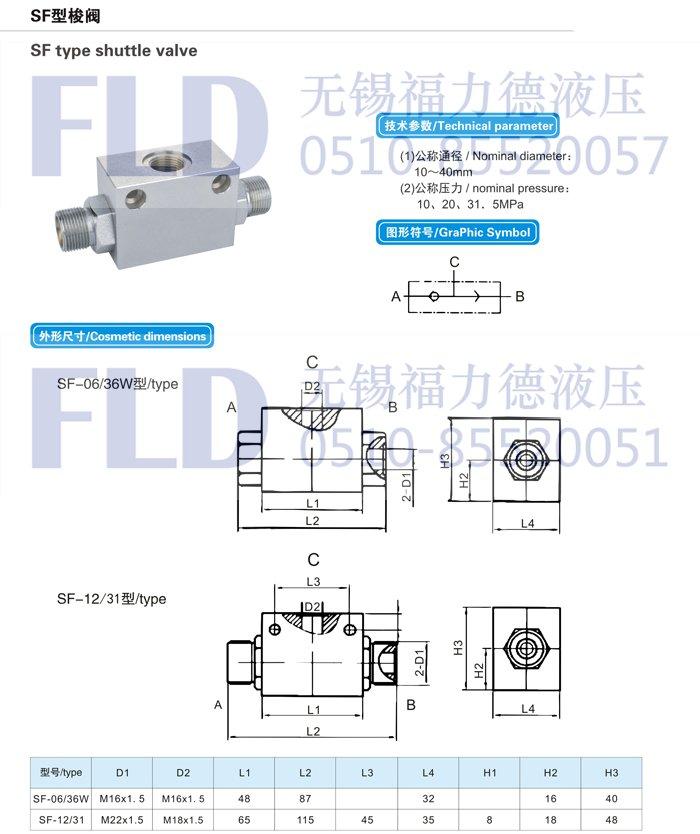 机电之家网 产品信息 液压机械 液压元件 >sf-06/36w梭阀图片