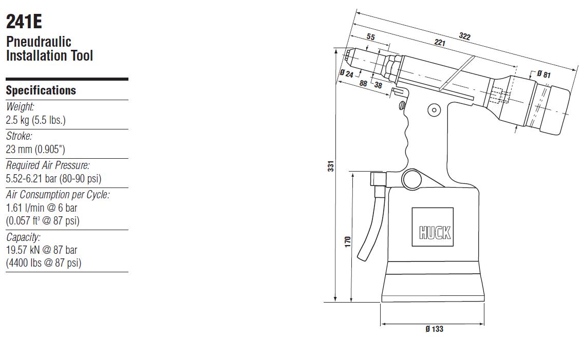 HUCK241E气动铆钉枪—韦德科技0755-2665 6615