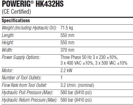 POWERIG® HK432HS 液压站技术参数—韦德科技0755-2665 6615