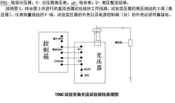 泄露试验中限流电阻R1选择在额定输出电压时,输出端短路电流不超过高压硅堆的蕞大整流。如电压硅堆的蕞大整流电流为100mA时用于60kV的试验装置中,限流电阻按R1=60/0.1=600k选择。限流电阻还应具有足够的容量和沿面放电距离。 高压滤波电容C1一般选择在0.01~0.1F,当被试品的电容量很大时,C1可省略不用。 泄露试验的操作及注意事项 1)试验前应先检查被试品是否停电,接地放电,一切对外连线是否擦干净。要严防将试验电压加到有人工作的部位上去。 2)接好试验装置的接线后,应复查无误后才可加压