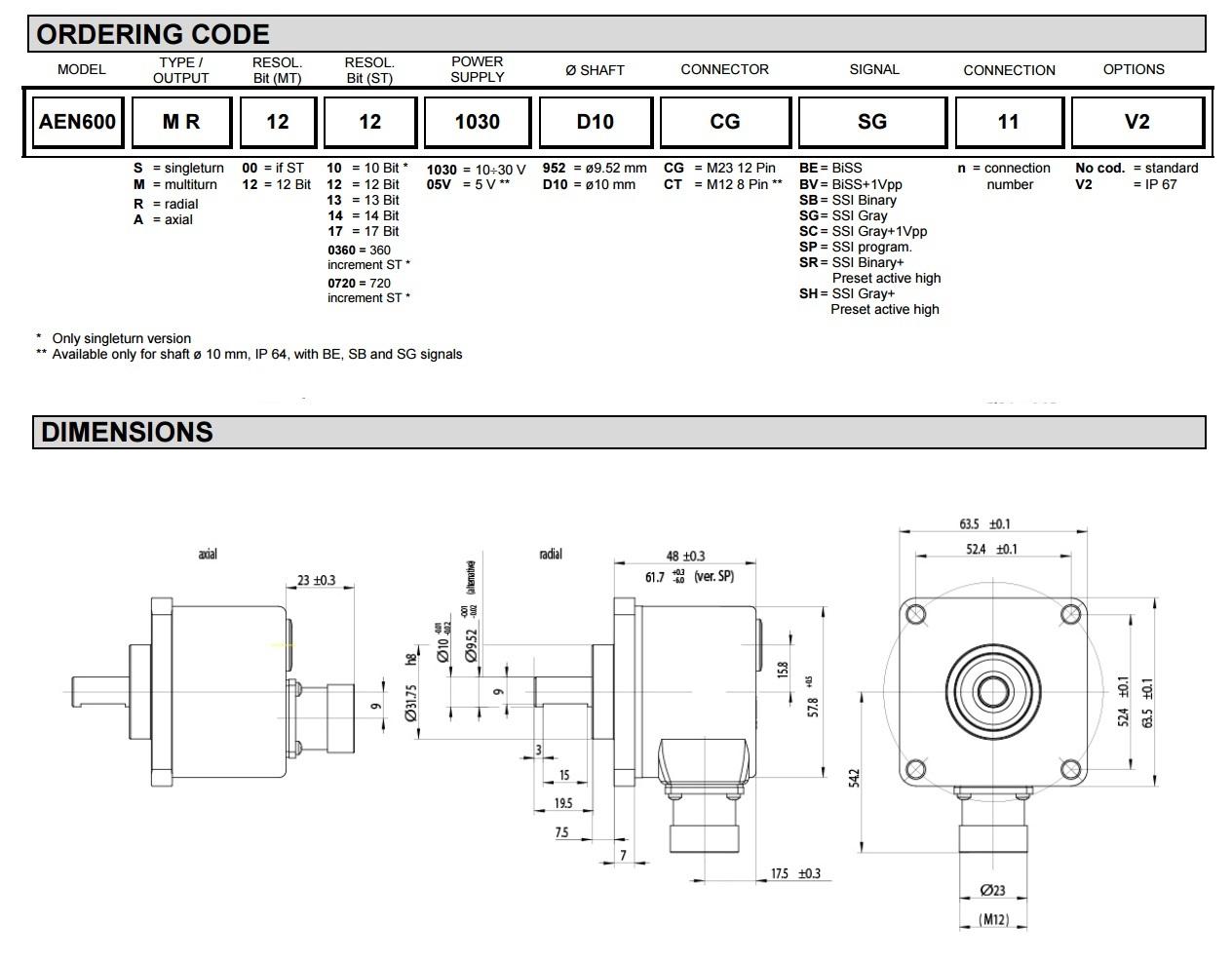 紧凑的设计绝对式旋转编码器,基于光学原理。 单圈分辨率可达17位。多圈分辨率达12位。 高精度和高稳定性的信号。 线性LSB(1 LSB的决议> 13位)。 串行接口(SSI,BISS,有或没有1 Vpp模拟信号)、现场总线(Profibus, CANopen,DeviceNet)或平行。 几个法兰可用。 IP 67防护等级可。 铝法兰和编码器本身。 轴向或径向输出(与连接器或电缆)。 高转速(12000转)。 诊断:警告、LED显示、温度测量、报警点。