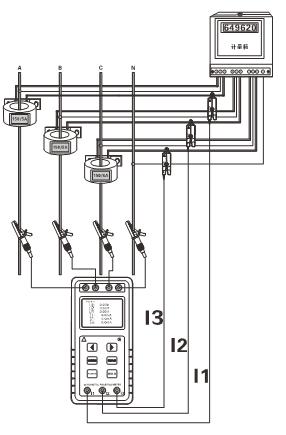 测试三相四线电压,电流,相位,相序,频率,功率,功率因数等