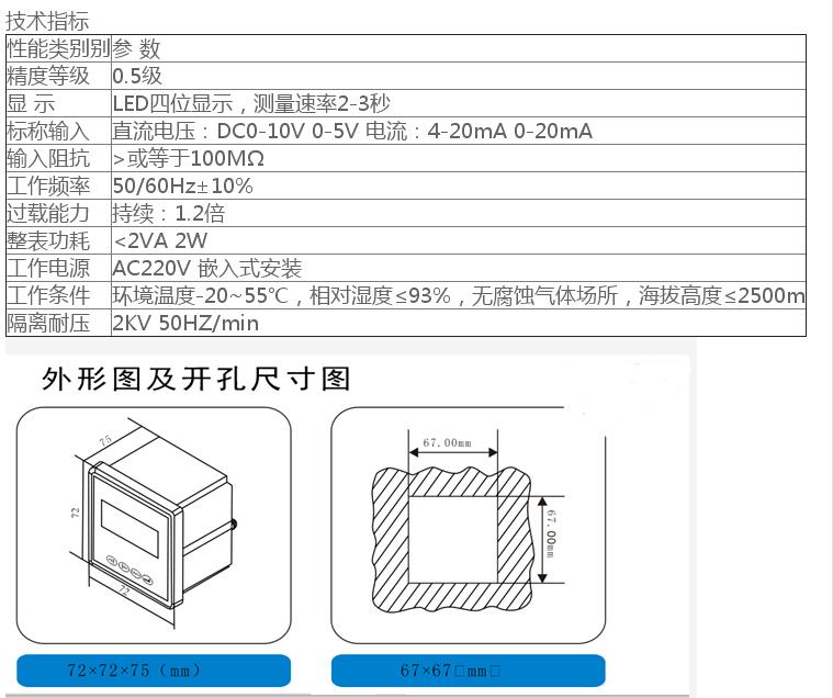 SX72-HZ变频器专用数显频率表 SX72-HZ变频器专用数显频率表,通过测量变频器输出的DC0-10V 0-5V或0-20mA,4-20mA模拟量信号,来显示变频器输出的转速或频率。适用于机械设备.机电设备.自动化设备.变频器控制柜等,是变频器配套使用
