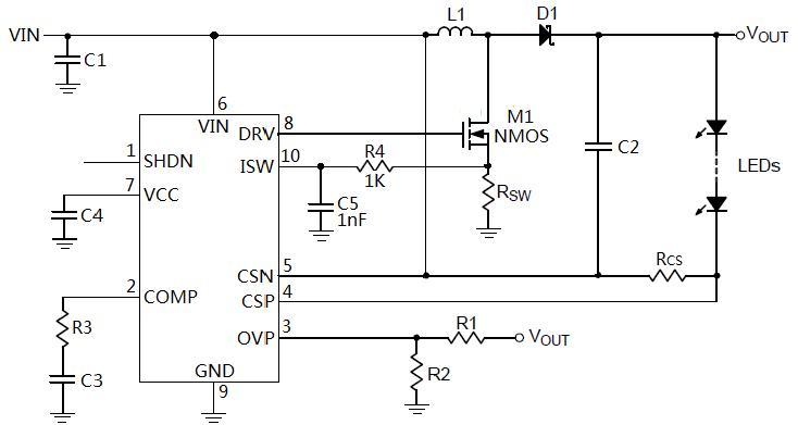 50W升降压LED驱动ic MH8006 特 点 工作电压:5V 到 30V 降压或升降压型LED驱动方案 高端电流检测 电流反馈:120mV 可设置的过压保护阈值 内部软启动电路 极低关断功耗 工作温度: -40 至 85 SSOP-10封装 无铅,符合Rohs,无卤素 50W升降压LED驱动ic MH8006 推荐应用 高亮LED应急照明、LED台灯及室内照明、LED工业照明等领域 50W升降压LED驱动ic MH8006 典型电路