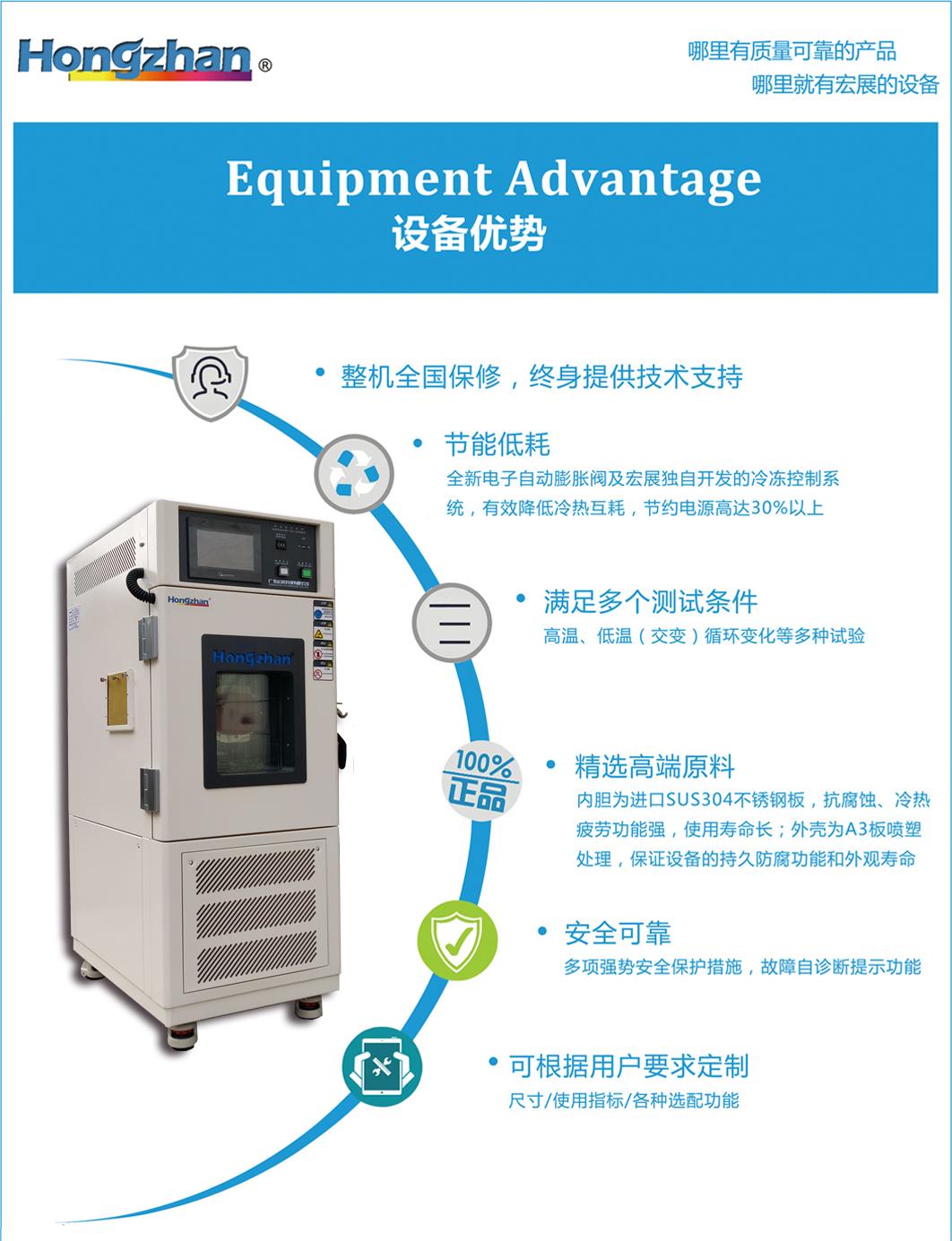 高低溫試驗箱,高低溫試驗機,高低溫試驗設備技術優勢:節能低耗、滿足多個測試條件、零配件精選優異原料、全自動控制與保護協調系統、可根據用戶需求定制等