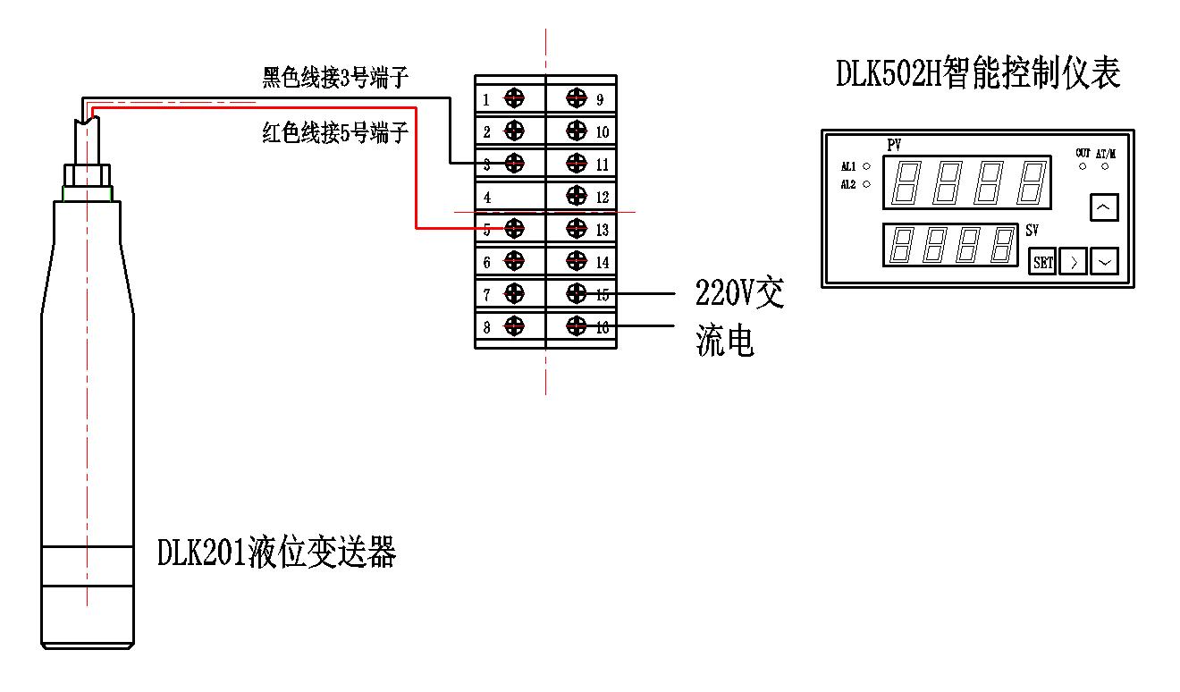 dlk201液位变送器与dlk502h仪表接线图