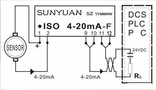 两线制4-20ma隔离配电器典型应用图