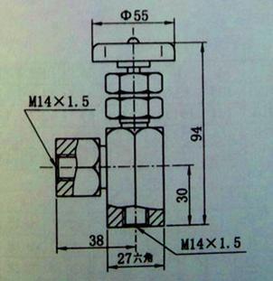 用来切断压力表和油路的连接或调节开口度大小.