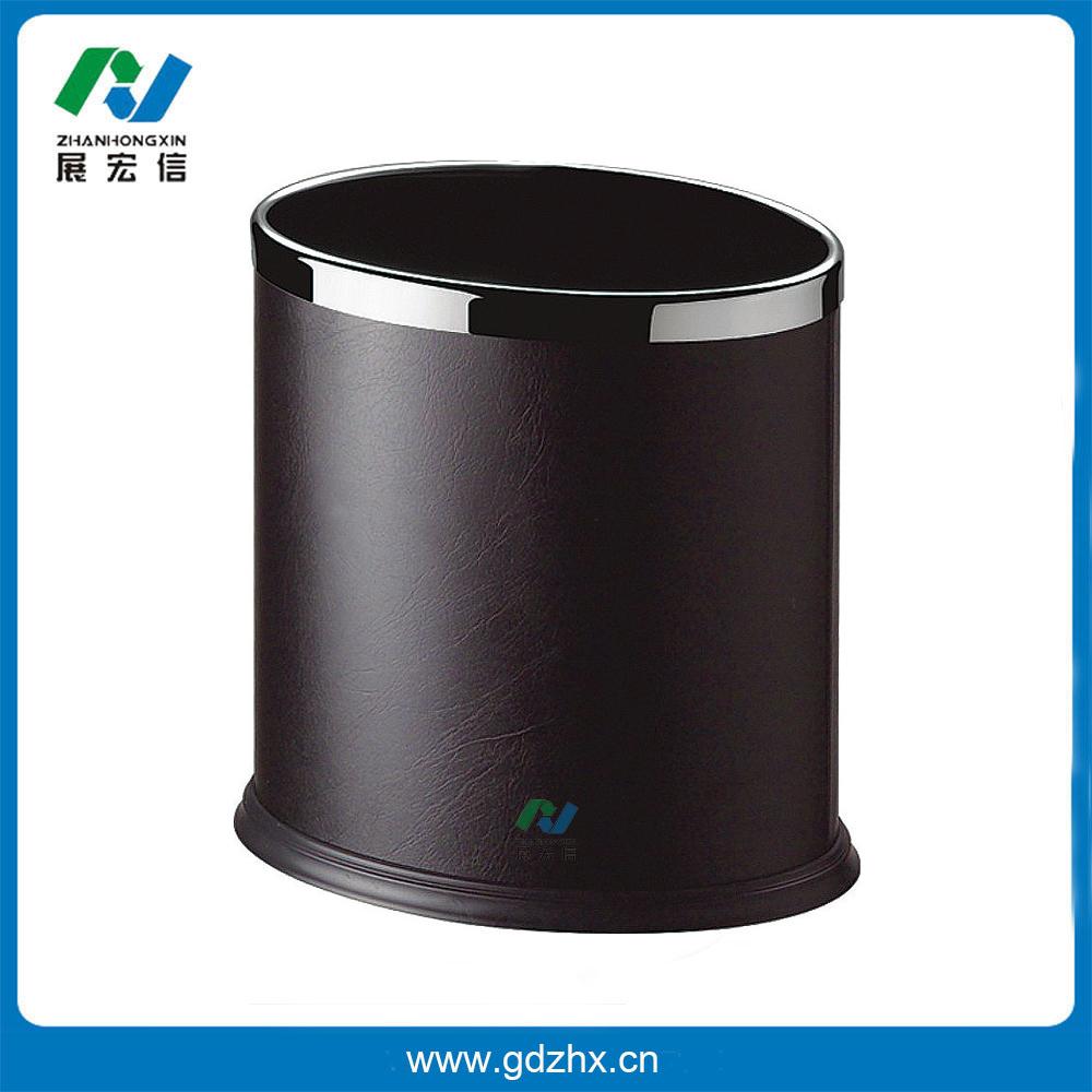 椭圆单层垃圾桶(固定钢圈,黑色人造皮) gpx-43b