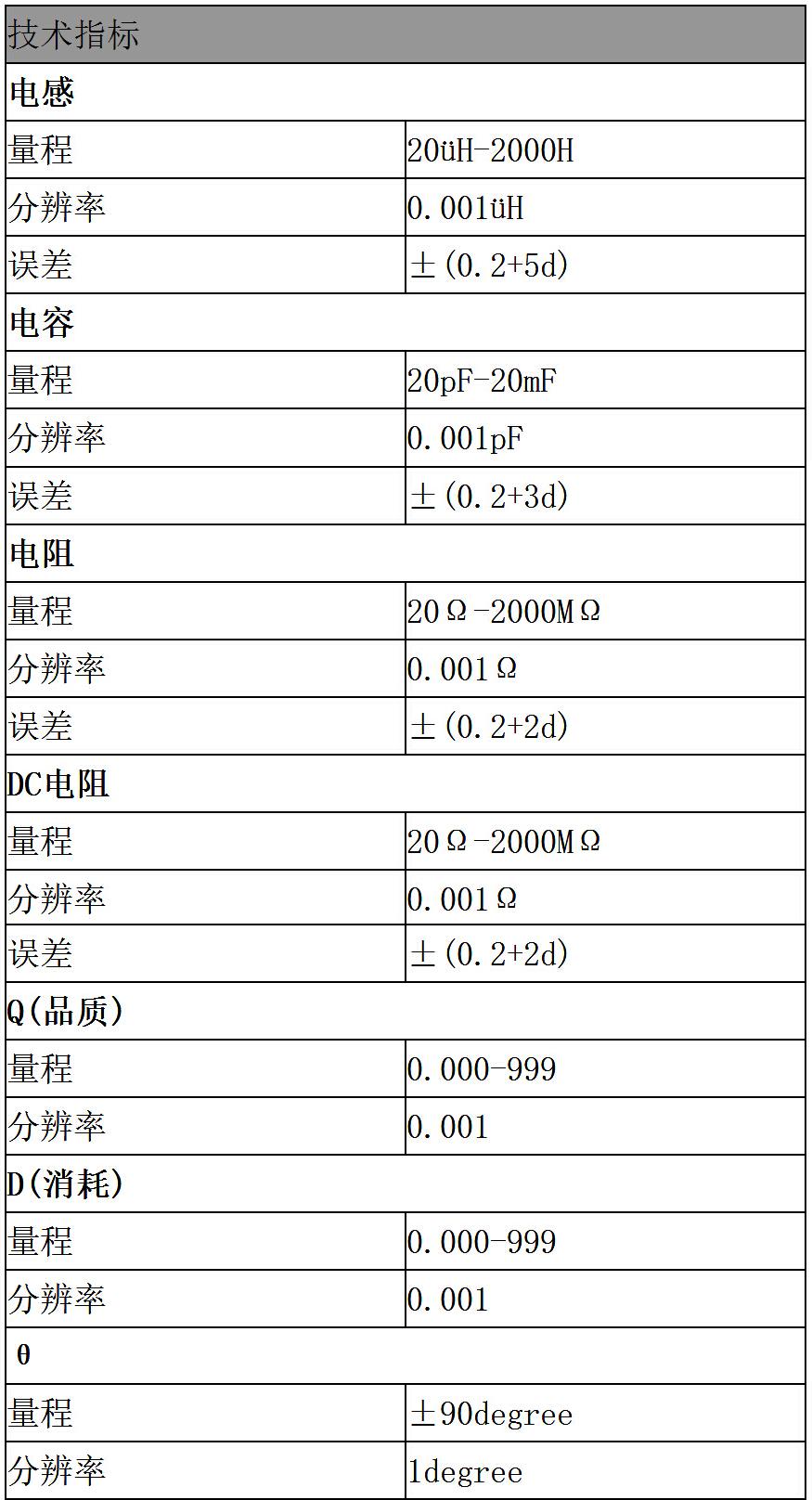lcr电感电容数字万用表