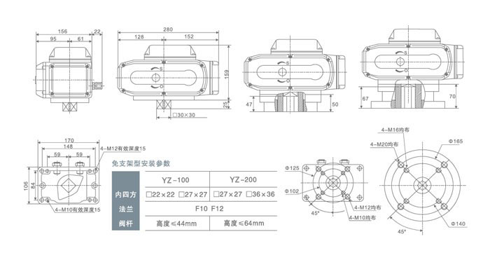 电动执行器YZ-100(免支架)概述 YZ系列电动执行器用于控制0~300旋转的阀门及其他同类产品,如蝶阀、球阀、风门、旋塞阀、百叶阀等,它以AC415V、380V、240V、220V、110V、DC12V、24V、220V交流电源为驱动电源,以4-20mA电流信号或0-10V DC 电压信号为控制信号,可使阀门运动到所需位置,实现其自动化控制,最大输出扭矩达6000Nm。电动执行器YZ-100(免支架)可以广泛应用于石油、化工、电力、冶金、制药、造纸、能源、水处理、船舶、纺织、食品加工、楼宇自动化等