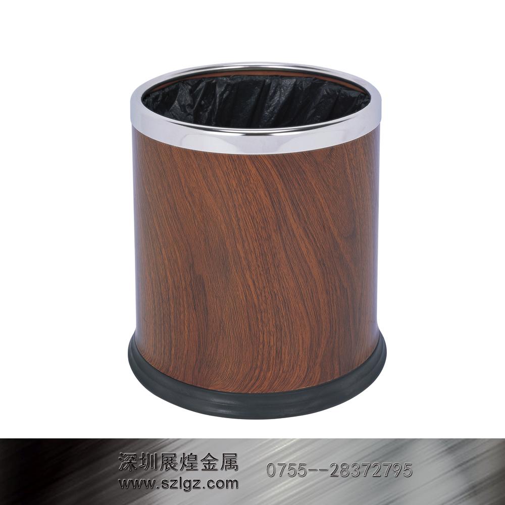 红桃木色多层圆形垃圾桶
