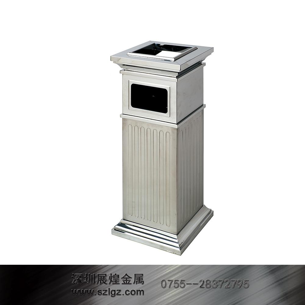 镜钢罗马柱垃圾桶