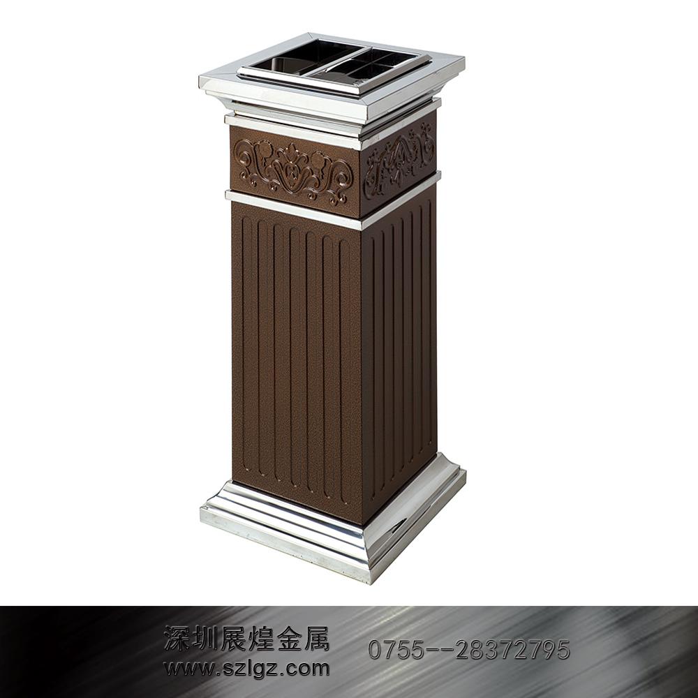 方形古铜漆罗马柱垃圾桶