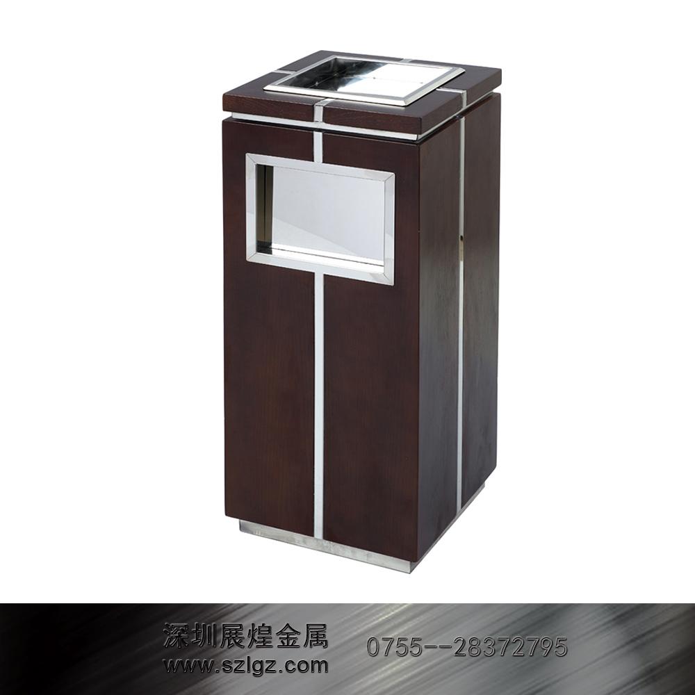 黑色中式木烟灰桶 不锈钢垃圾桶
