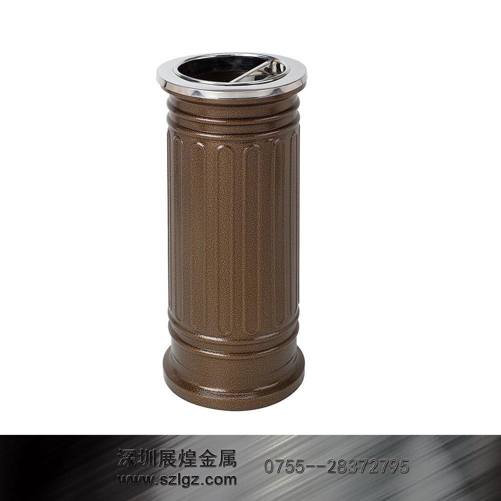 古铜漆罗马柱垃圾桶 不锈钢垃圾桶
