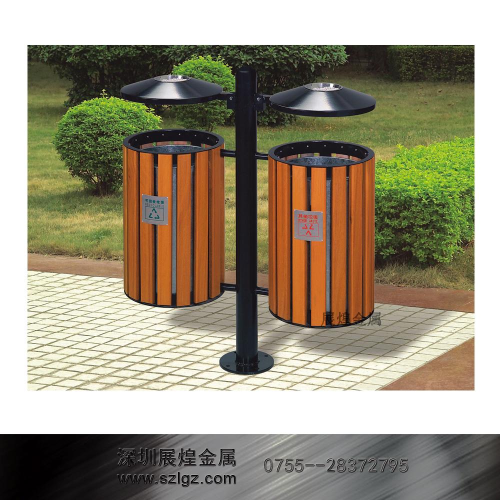 双吊圆桶环保塑木 不锈钢垃圾桶 烟灰缸垃圾桶 酒店