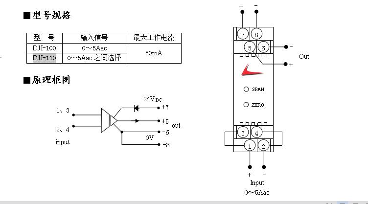 DJI-110 交流电流信号转换器可通过交流电流互感器,将输入的交流电流信号转换成标准的4~20mA或1~5V信号输出。输入和输出(电源)之间相互隔离,输出与电源共0V。 DJI-110 交流电流信号转换器 主要技术指标 输入信号:0~5Aac之间选择  输出信号:4~20mA、1~5V(由拨码开关设置) 负载电阻:0~750 基本误差:0.