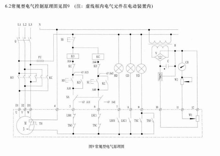 开关型阀门电动装置接线图