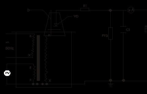 图:vd-高压硅堆r1-限流电阻c1-高压滤波电容 fyq-阻容分压器cx-被试