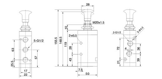 气动元件 >>>  方向控制阀 仪表展览网 展馆展区 4r4系列二位五通手动图片
