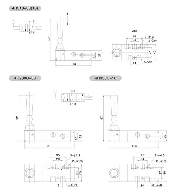 气动元件 >>>  方向控制阀 仪表展览网 展馆展区 4h系列二位五通/三位图片