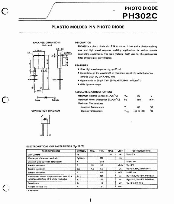 日本nec光电二极管 ph302 红外线接收管 原装现货 ph