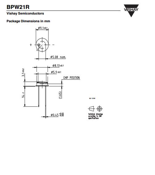 威士vishay光电二极管 硅光电池,bpw21r 波长565nm